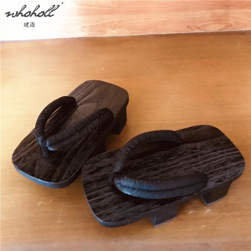WHOHOLL Geta Slipper Summer Flip-flops Women Men's Slippers Wooden Japanese Geta Clogs Shoes Cosplay Costumes Slides Shoes