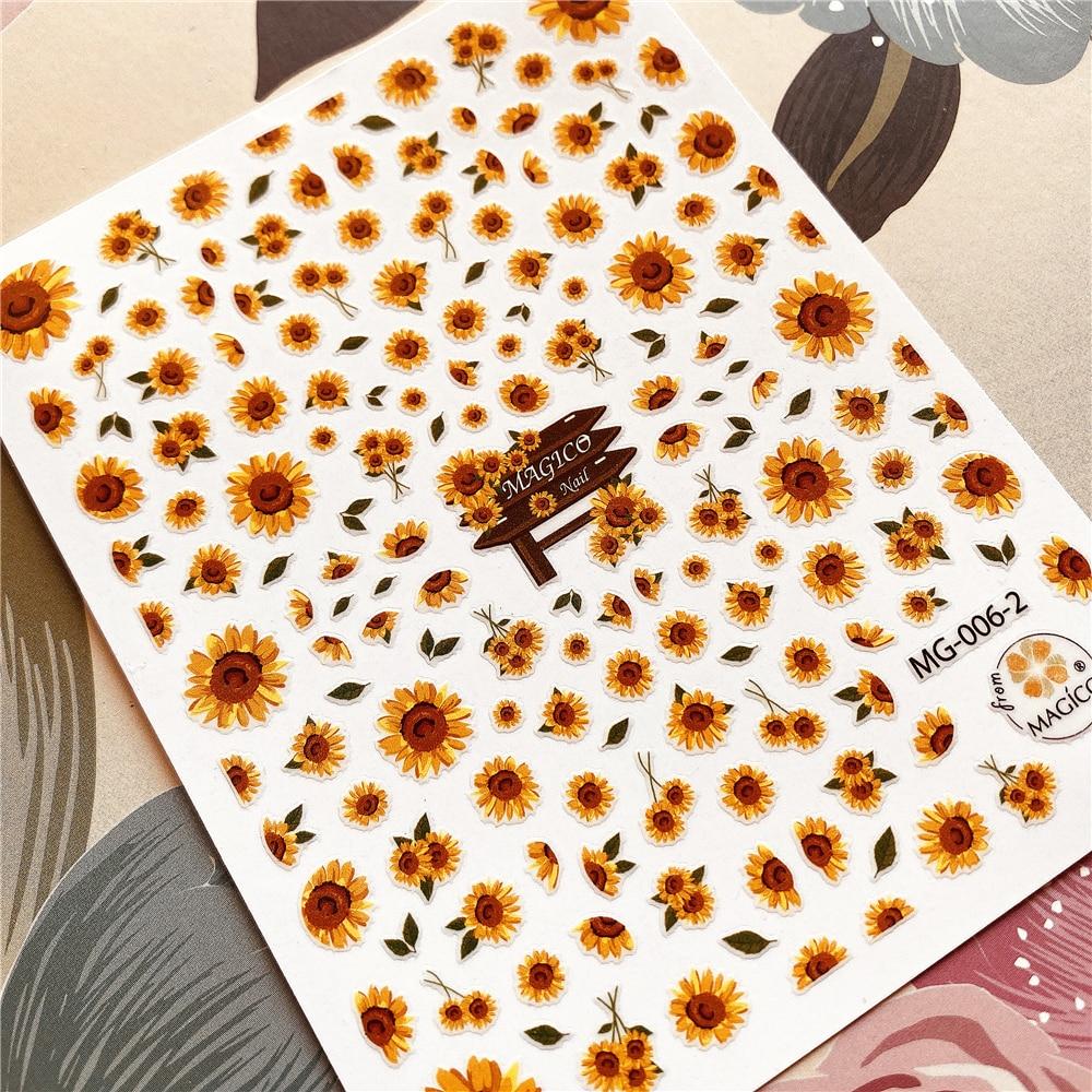 Sun Flower Sunflower Daisy Flower Series 3D Back Glue Nail Decal Nail Sticker Nail Decoration Nail Art Nail Tool Nail Ornament