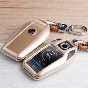 Image 2 - פחמן סיבי ABS מפתח מקרה מפתח פגז מרחוק מגן עבור BMW 6 7 סדרת 740 6 סדרת GT 5 530i x3 Keychain תיק אביזרי רכב
