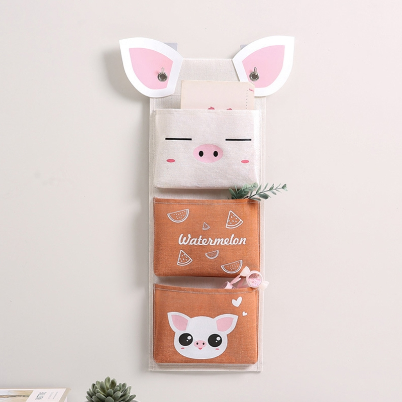 3/7 Pockets Wall Hanging Storage Bag Waterproof Cartoon Cotton Linen Bedroom Sundries Pouch Simple Home Organizer