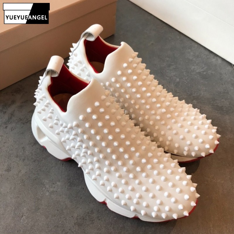 Euro New Rivet Sequined Cloth Unisex Couple Footwear Loafer Shoes Thick Bottom Round Toe Platform Casual Jogging Shoes Plus Size