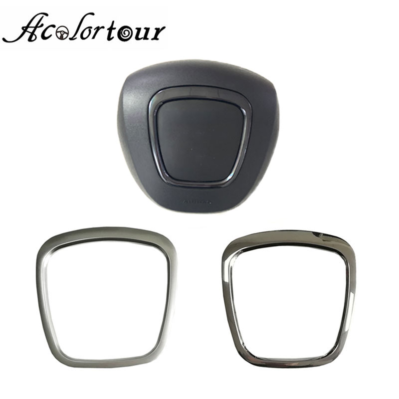 For A3 8P S3 A4 B6 B7 B8 A5 A6 C6 Q7 Q5 Steering Wheel Trim Flying Wheel Emblem Cover Badge Frame Abs Chrome