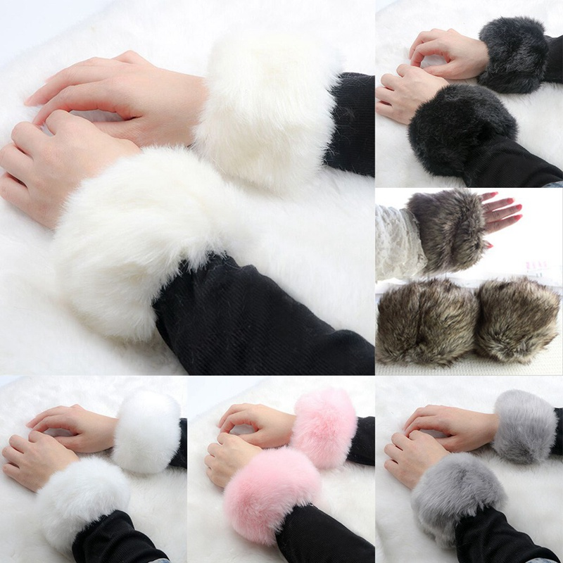 HOT Winter Warme Specials Wrist Cuffs Faux Fox Fur Rabbit Hair Short Wristbands Plush Bracelet Female Arm Warmers For Women