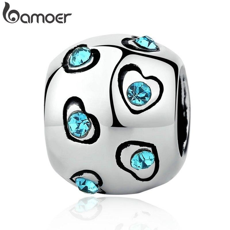 BAMOER серебряный цвет синий кристалл сердце бусины изысканные бусины талисманы подходящие браслеты и браслеты оригинальные ювелирные аксессуары PA5320