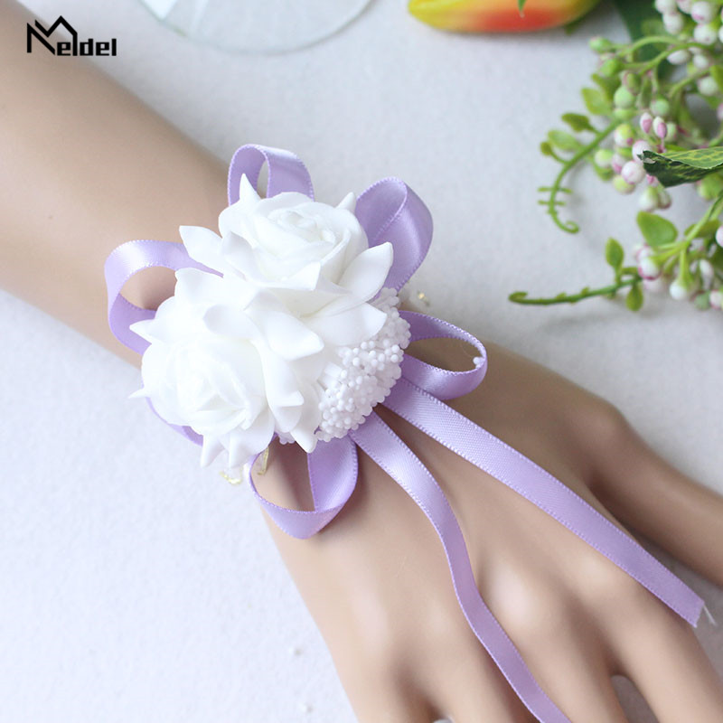 Wedding Wrist Corsage Bracelet Flowers Wedding Bracelet Bridesmaid Sisters Hand Flowers Ribbon Roses Artificial Wedding Planner