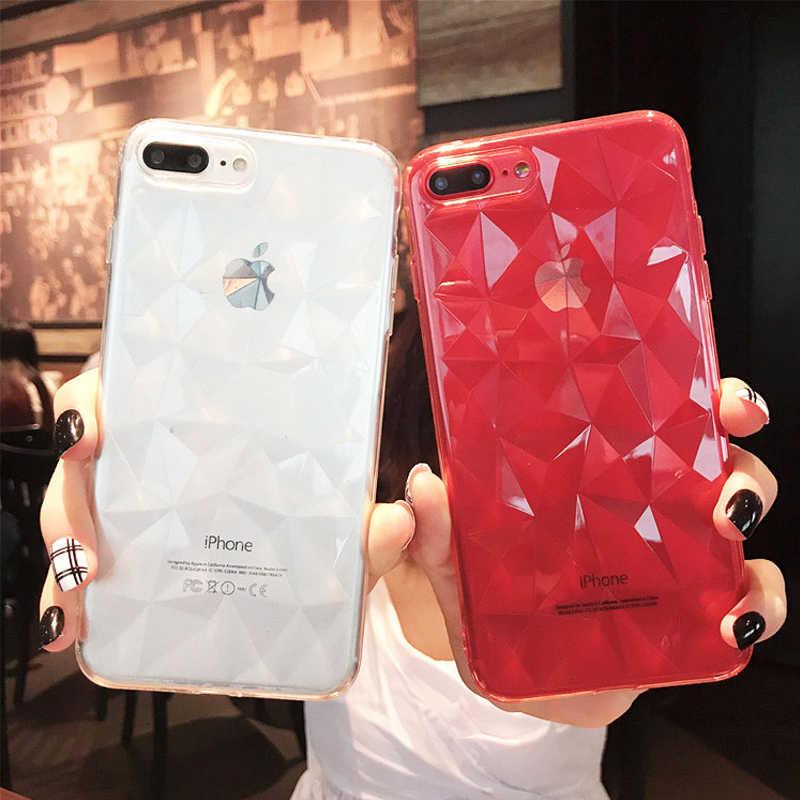Luxe Siliconen 3D Diamant Telefoon Case Voor iPhone 11 Pro XS Max XR X Candy Kleur Soft TPU Cover Voor iPhone 8 7 6S 6 Plus 5S 5S SE