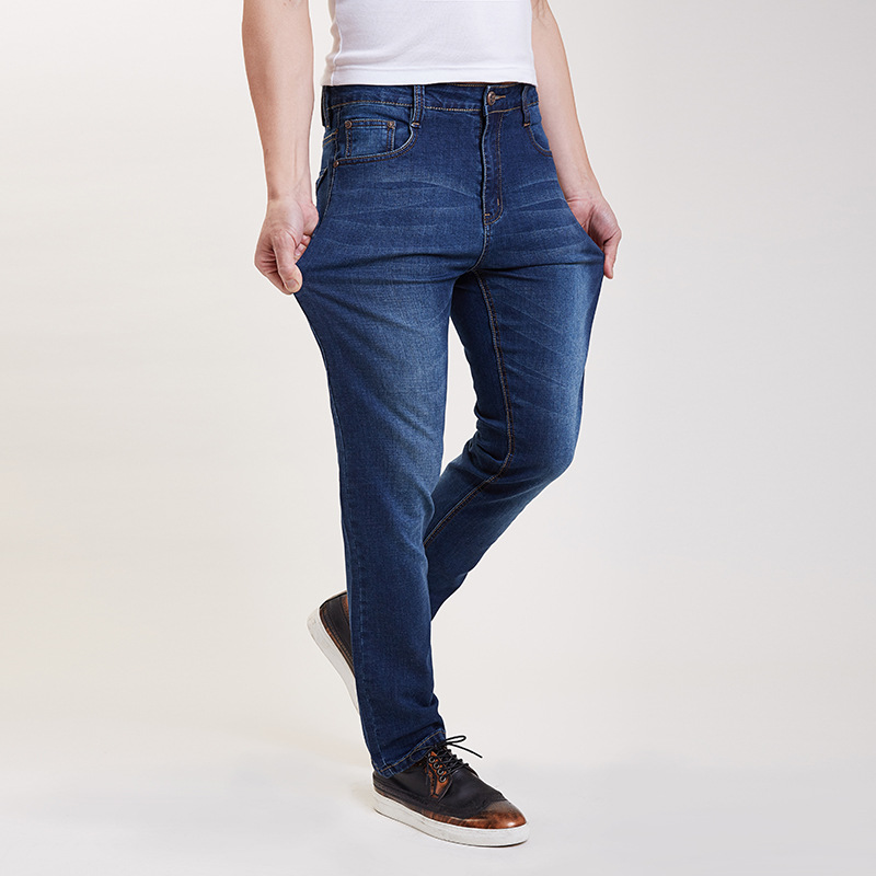 Spring And Autumn Elasticity Jeans Men Plus-sized Thin Jeans Youth Casual Men's Long Trousers