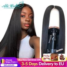 Ali Grace – Perruques de cheveux raides T, à dentelle frontale pour femme, brésiliens, humains, en 13x4, couleur naturelle