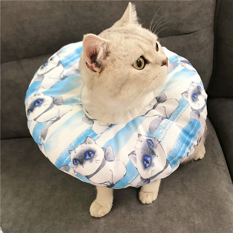 Adjustable Pet E-Collar Recovery Cone Cotton Blends Neck Recover Collar Cat Dog Printed Elizabeth Circle Protection