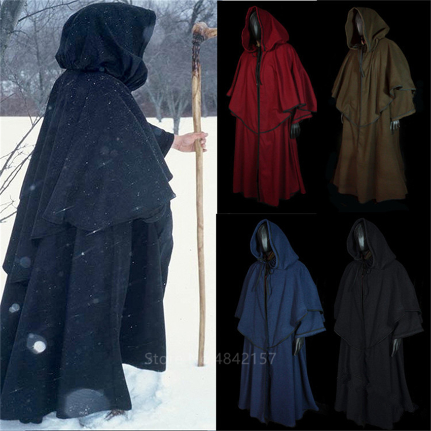 Middle Ages Wizard Cosplay Costumes For Adult Halloween Carnival Party Stage Performance Vintage Medieval Monk Long Robes