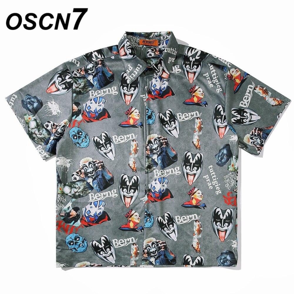 OSCN7 Casual Printed Short Sleeve Shirt Men Street 2020 Hawaii Beach Oversize Women Fashion Harujuku Shirts For Men A10