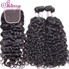 ברזילאי שיער מים גל חבילות עם סגירת תחרה עם תינוק שיער 3 חתיכות tissage cheveux humain לא רמי שיער טבעי חבילות