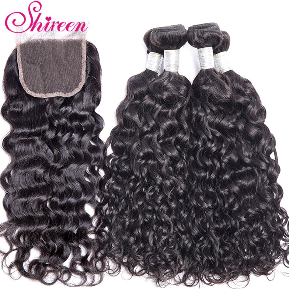 Shireen Brazilian Hair Water Wave Bundles With Lace Closure Non-Remy 4 Bundles Deals Human Hair Bundles With 4*4 Lace Closure
