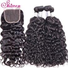Włosy brazylijskie Water wave wiązki z zamknięcia koronki z dzieckiem włosy 3 sztuk tissage cheveux humain nie Remy ludzki włos wiązki