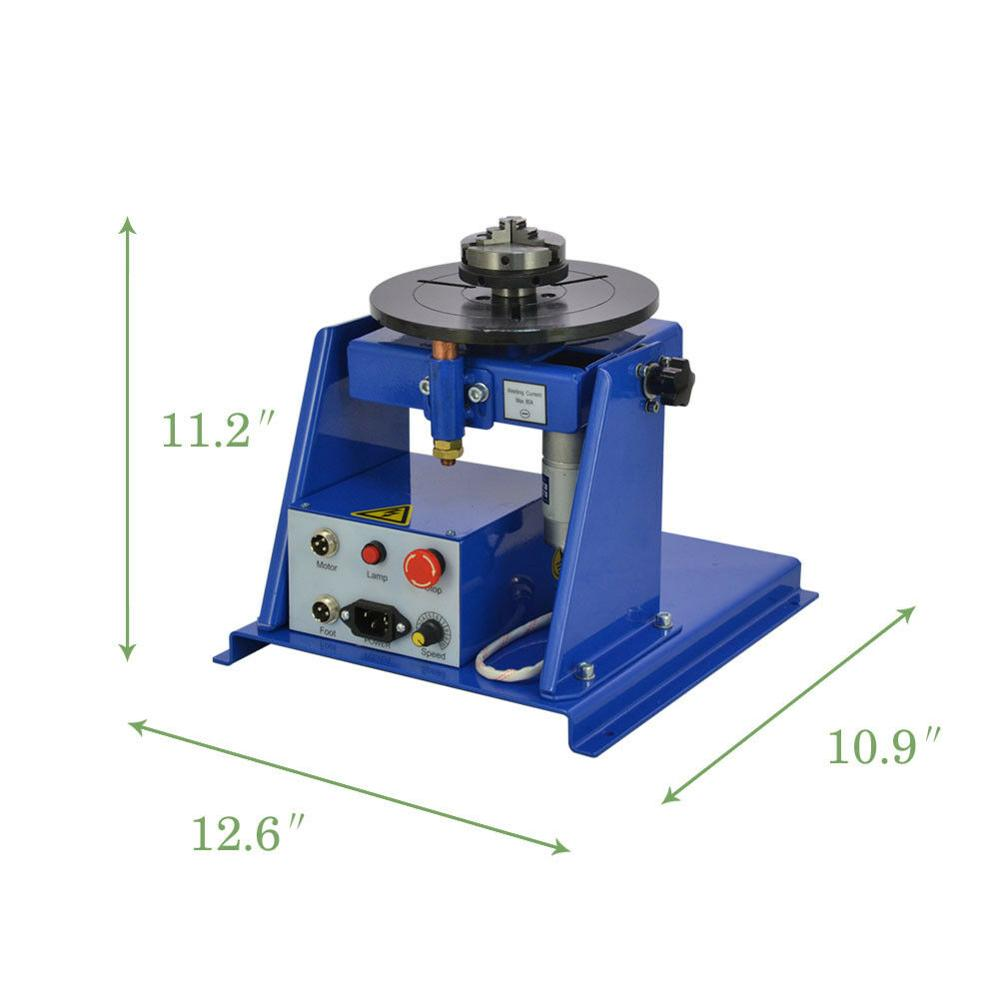 Tools : 220V 10KG Rotary Welding Positioner Turntable Table Mini 2 5inch 3 Jaw Lathe Chuck