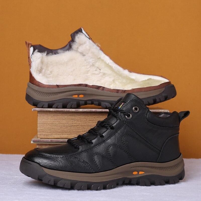 2019 nuevos zapatos de invierno botas de hombre de cuero casual dentro caliente nieve Zapatos Hombre cuero botines antideslizantes botas de felpa S9-70 Botines blancos de cuero partido suave para mujer, botas de moto para mujer, zapatos de Otoño Invierno para mujer, botas Punk para moto, primavera 2020