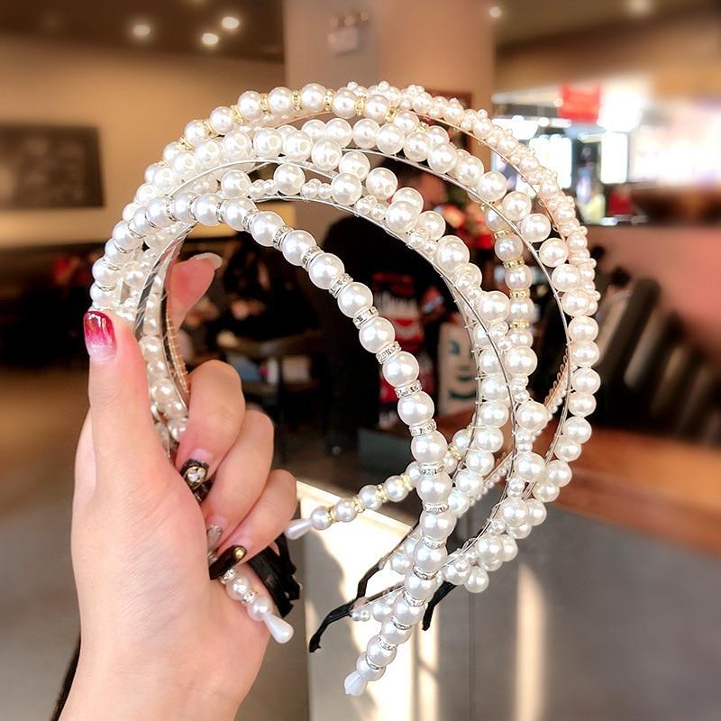 Simulation Pearl Hairbands Hair Accessories For Women Fashion Jewelry Silver Bezel Hoop Headband Korean Girl Headbress Wholesale