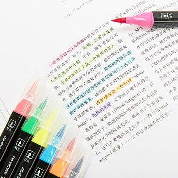 Aihao 12/18/24/36 ȉ�デュアルブラシペンセット洗えるハードソフトツインマーカーペンのための子供学生学校の文具画材