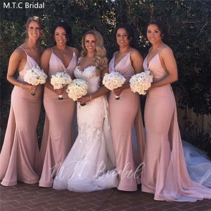 Sexy Dusty Pink Mermaid   Bridesmaid     Dresses   With Detachable Train Sweetheart Plus Size Wedding Guest   Dress   For Prom Robe Soiree