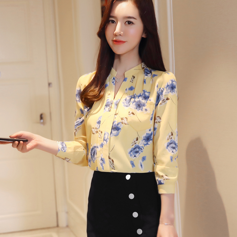 Fashion Woman Blouses 2021 Long Sleeve Print Chiffon Women Blouse Shirt Ladies Tops Feminine Blouses Women Shirt Blusas Z0001 40 4