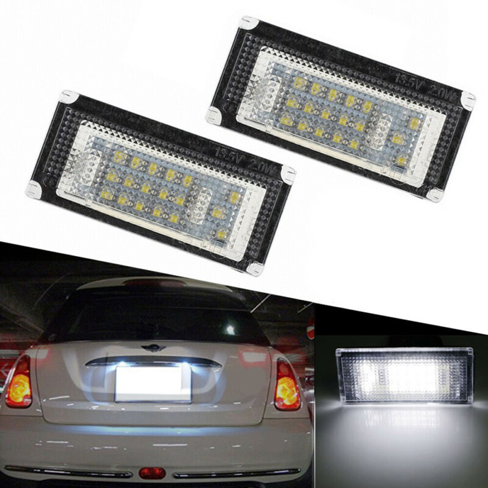 2pcs Car 18 LEDs License Plate Light Lamp 6000K PC+LED For BMW MINI COPPER R50 R52 R53 Lights lamps