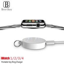 ポータブルキーリング時計ワイヤレス充電器 usb ケーブルアップル iwatch シリーズ 5 4 3 2 1 2 ワットワイヤレスのための急速充電 iwatch 5 4 3