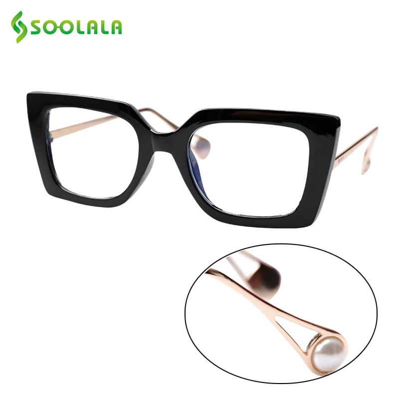 SOOLALA Anti Blue Light Cat Eye Sunglasses Reading Glasses Computer Pearl Arms Reading Glasses +1.0 1.25 1.5 1.75 To 4.0