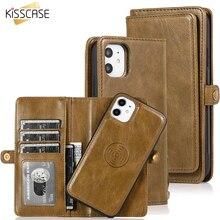 KISSCASE için manyetik deri cüzdan kılıfı iPhone 11 Pro Max 7 8 6 6S artı telefon tutucu iPhone XS Max XR X PU Retro çanta