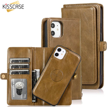KISSCASE étui portefeuille en cuir magnétique pour iPhone 11 Pro Max 7 8 6 6S Plus support de téléphone pour iPhone XS Max XR X PU sac à main rétro
