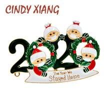 Cindy xiang 2020 natal broche família este ano ficamos em casa broches esmalte criativo broche pino figura jóias novo design