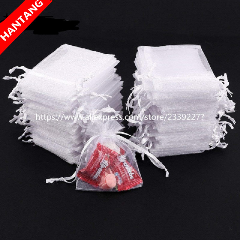50pcs White Organza Bags Organza Drawstring Bags,Drawstring Pouches, Gift Bags Candy Jewelry Party Wedding Favor Bags Gift 5z