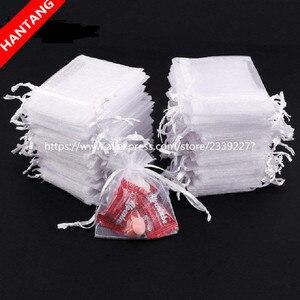 Image 1 - Sacs en Organza blancs, pochettes à cordon, pochettes à cordon, pochettes cadeaux pour bijoux et bonbons, cadeaux de fête, mariage, 5z, 50pcs