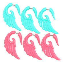1pair Acrylic Angel Wing/Feather Spiral Piercing Ear Taper Plugs Tunnels Strecher Kit Expander Hot Fashion Body Jewelry