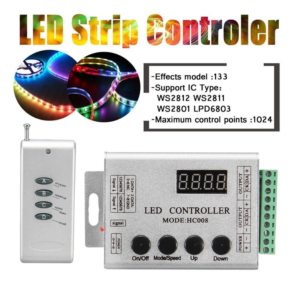 DC12V LED Strip Pixel Bar HC008 RF Controller SPI Magic Dream Color Controller For WS2812 WS2811 WS2801 Light Strip