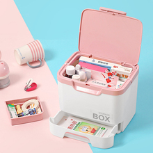 Multi-layer multi-layer family plastic childrens medicine box portable household storage