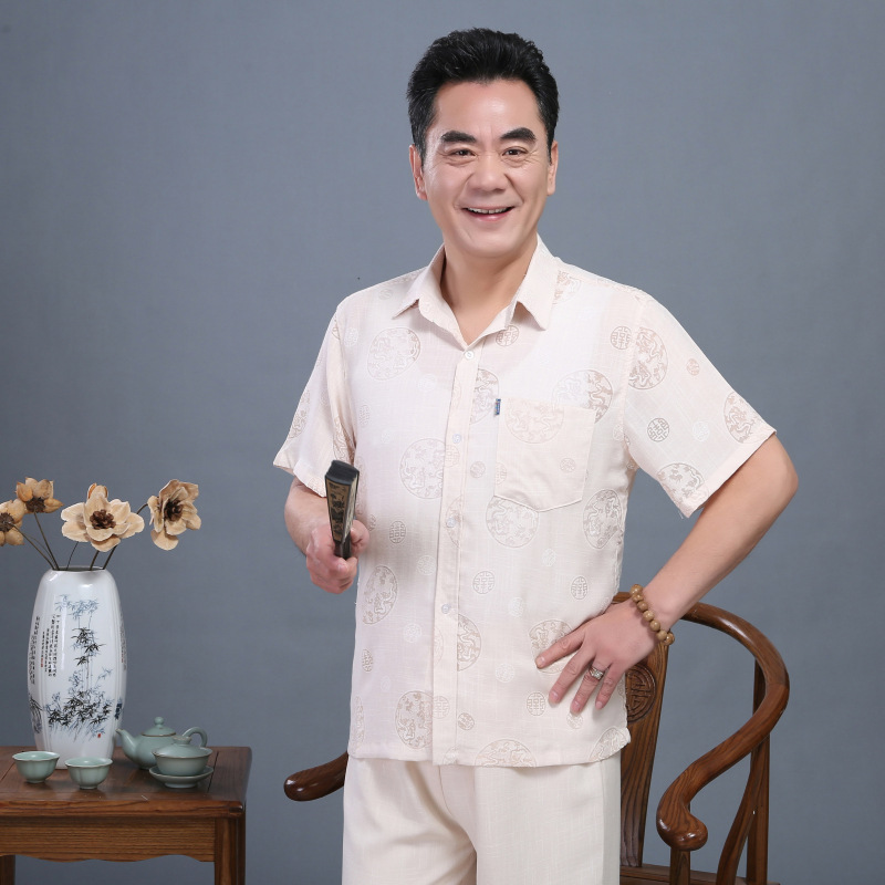 Middle-aged Chinese Costume MEN'S Short Sleeve Chinese Style Summer Fold-down Collar Linen Shirt Chinese-style Cotton Linen Shir