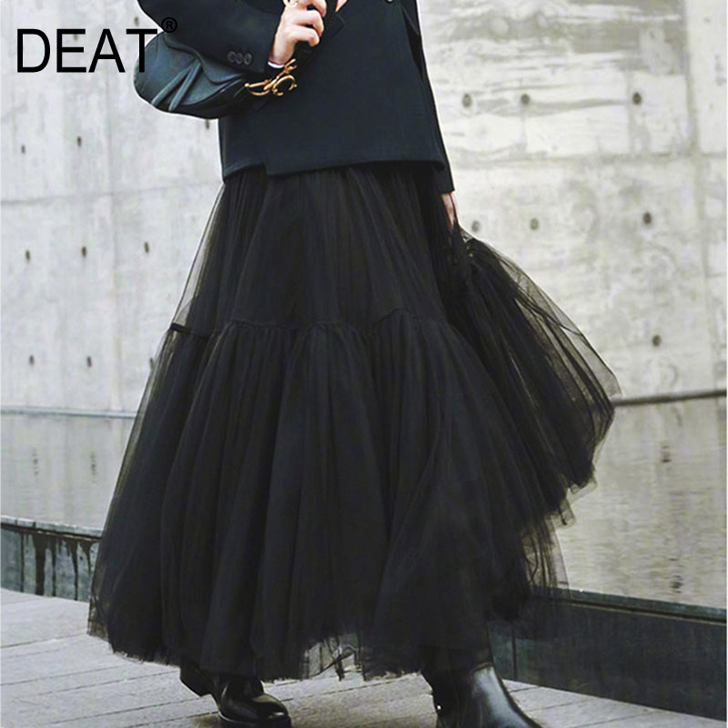 DEAT 2020 New High Waist A-line Mesh Ruffles Long Halfbody Skirt Spring And Summer Fashion Women Bottoms WK72200XL