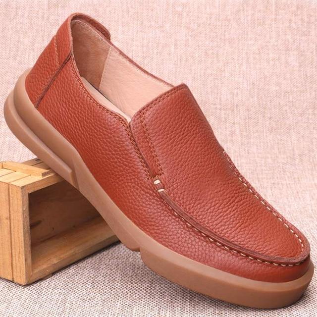 Chaussures en cuir naturel fait à la main pour hommes, respirantes de grande taille 11 12 13, mocassins de luxe de styliste, chaussures décontractées