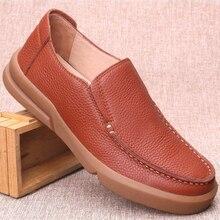 Vintage جلد طبيعي الرجال الأحذية اليدوية تنفس حجم كبير 11 12 13 كسول ماركة حذاء كاجوال الرجال الفاخرة مصمم المتسكعون