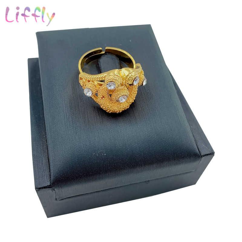 חדש אפריקאי זהב סט תכשיטי יוקרה קריסטל שרשרת עגילי טבעת צמיד שכבות שרשרת קסם עבור אישה תכשיטים