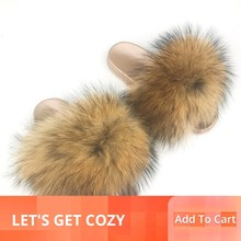 купить Women Slippers Fur Furry Slippers Home Real Fur Slides Summer Flat Shoes Woman Female Flip Flops Ladies Slipper Wholesale 2019 дешево