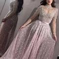 Женское платье, элегантное торжественное мероприятие вечерние Сетчатое платье с длинными рукавами и высокой талией, с блестками; Блестящие...