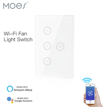 Smart Ceiling Fan Light Wall Switch,WiFi Smart Life/Tuya APP Remote Various Speed Control, Compatible with Alexa and Google Home