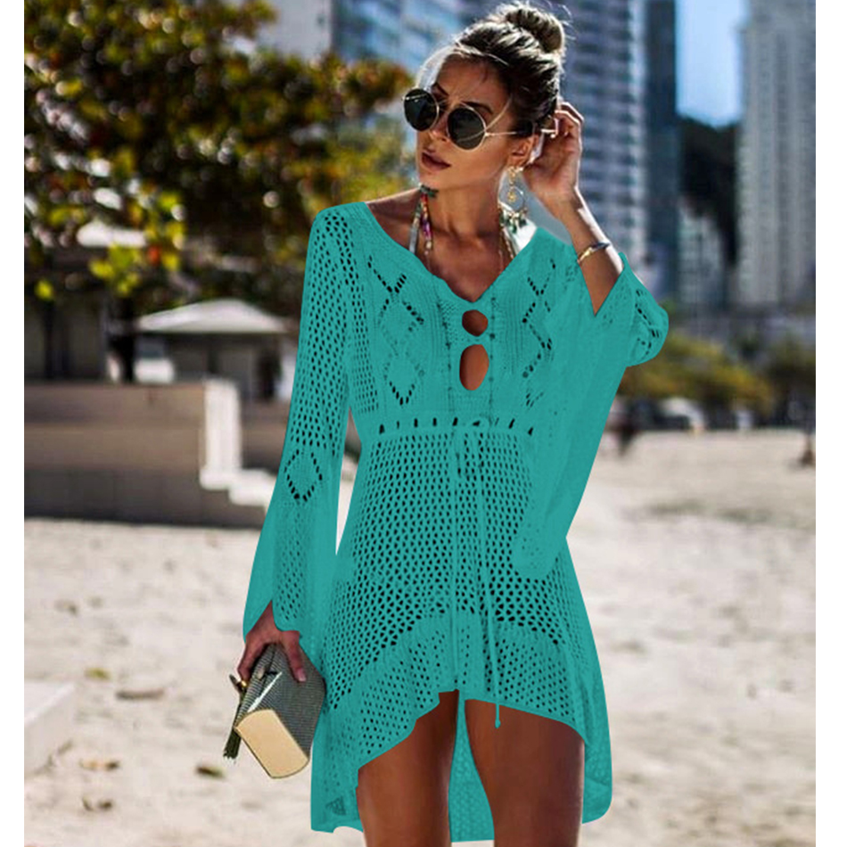 New Knitted Beach Cover Up Women Bikini Swimsuit Cover Up Hollow Out Beach Dress Tassel Tunics Bathing Suits Cover-Ups Beachwear 19