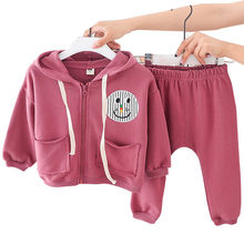 Toddler Girls Clothing Sets 2019 Fall Two Piece 1-7Y Kids Outfits Long Sleeve Cartoon Hooded Zipper Coat+Pant Casual Sport Suits(China)