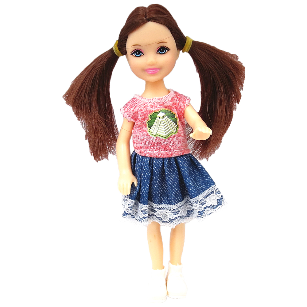 NK 1 Set Girl's Doll 5 Movable Jointed Mini Doll 14 Cm Cute Doll + Shoes+Outfit For Kelly Doll Girls Gift Baby Toys 11B 1X
