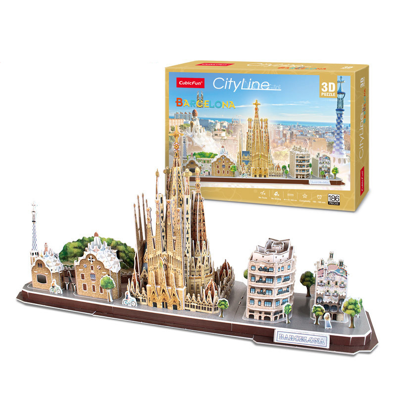 Spain Barcelona City 3D Puzzle Game Paper DIY Toy Model London Paris Moscow Famous Building Assemble Game Toys For Kids Gift