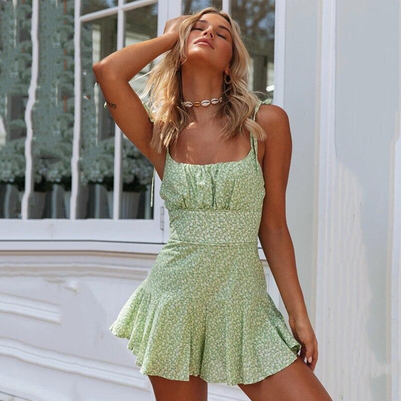 Women Casual Summer Romper Jumpsuit 2020 Floral Print Beach Romper Playsuit Spaghetti Strap Green Wide Leg Boho Romper Overalls
