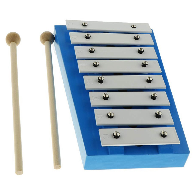 8 Note Glockenspiel With 2 Wooden Xylophone Violins For Music Lovers And Beginners Improve Your Hand-Eye Coordination And Increa