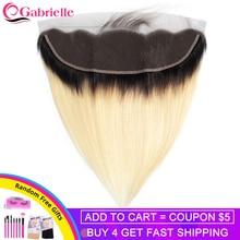 Gabrielle − perruque brésilienne Remy Swiss Lace, cheveux naturels, lisses, 1b 613, 13x4, dune oreille à lautre, Lace Frontal Closure